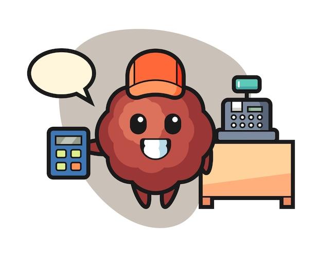 Meatball cartoon as a cashier
