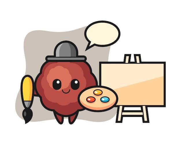 Meatball cartoon as a painter
