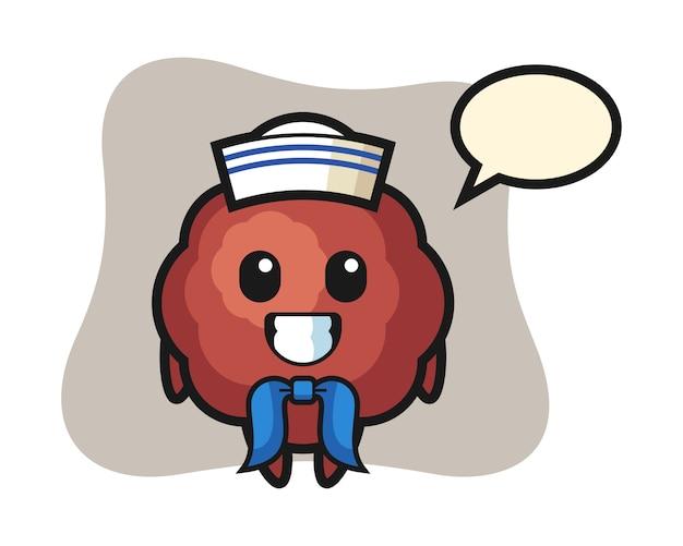 Meatball cartoon as a sailor man