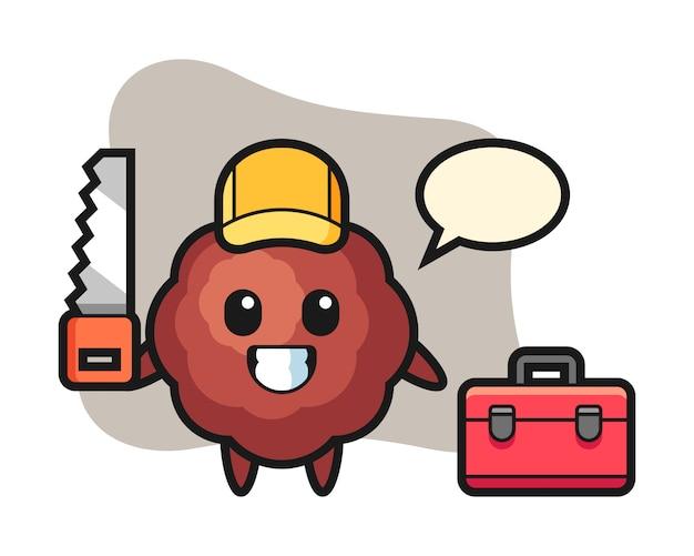 Meatball cartoon as a woodworker