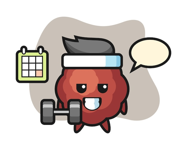 Meatball cartoon doing fitness with dumbbell