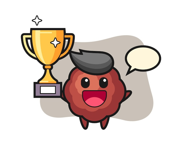 Meatball cartoon happy holding up the golden trophy