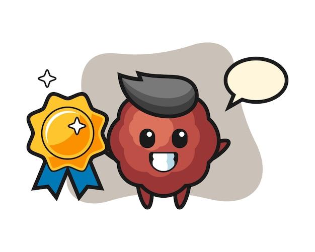 Meatball cartoon holding a golden badge
