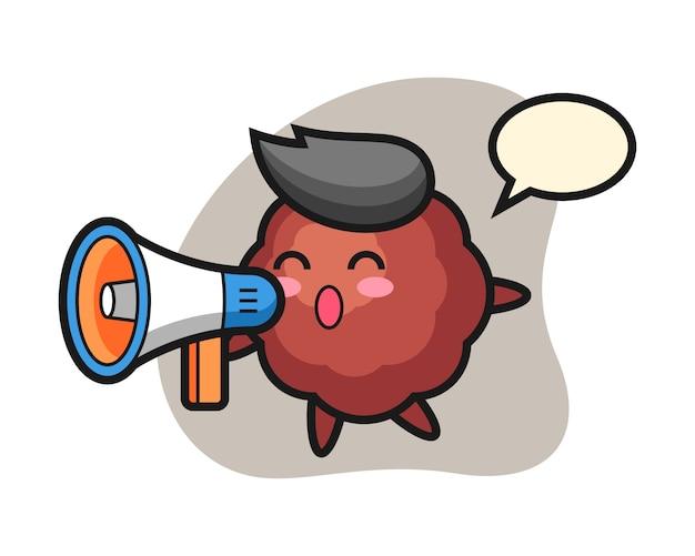 Meatball cartoon holding a megaphone