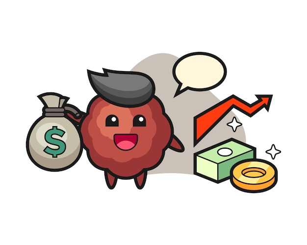 Meatball cartoon holding money sack