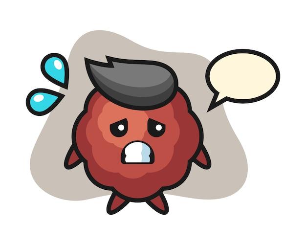 Meatball cartoon with afraid gesture