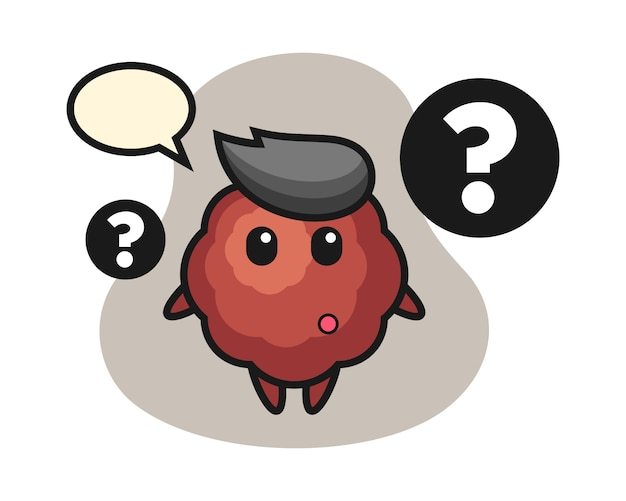Meatball cartoon with the question mark