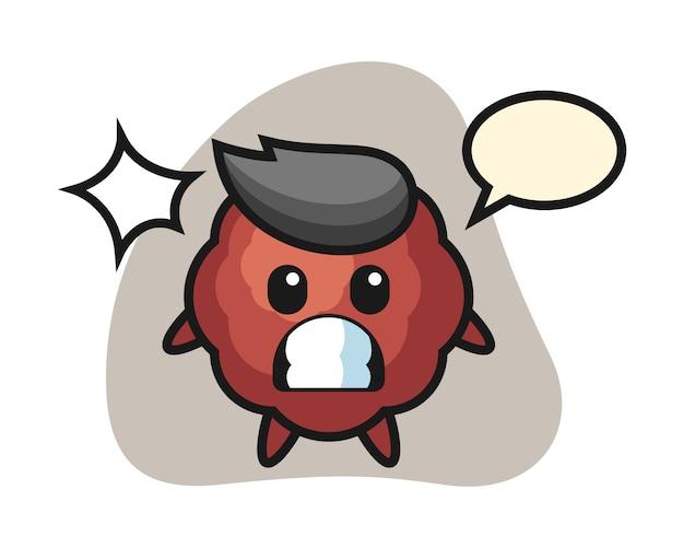 Meatball cartoon with shocked gesture