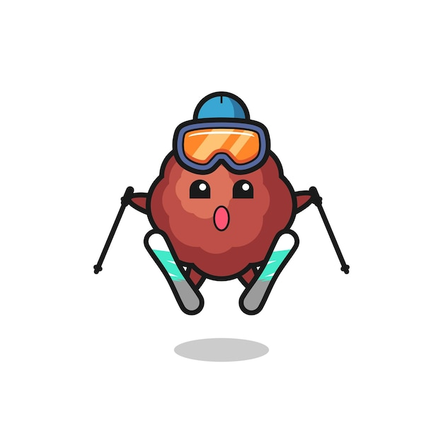 Meatball mascot character as a ski player , cute style design for t shirt, sticker, logo element