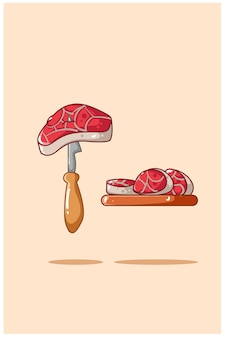 Meats and knife illustration
