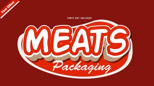 Вектор дизайна текстовый эффект мяса. редактируемый трехмерный текст