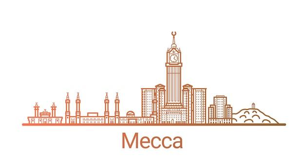 Цветная градиентная линия города мекка