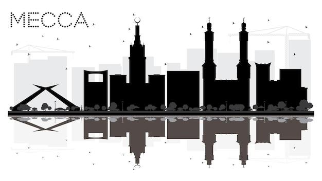 Мекка-сити горизонт черно-белый силуэт с отражениями. векторная иллюстрация. городской пейзаж с достопримечательностями.