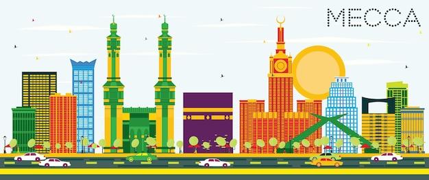 Горизонт мекки с цветными достопримечательностями и голубым небом. векторные иллюстрации. концепция путешествий и туризма с историческими зданиями. изображение для презентационного баннера и веб-сайта.
