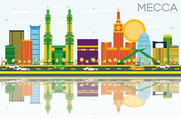 Горизонт мекки с цветными достопримечательностями, голубым небом и отражениями. векторные иллюстрации. концепция путешествий и туризма с историческими зданиями. изображение для презентационного баннера и веб-сайта.