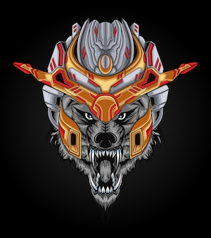 Mech wolf head power illustration perfect for design