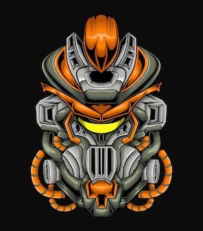메카 캐릭터 디자인. 로봇 로고 그림