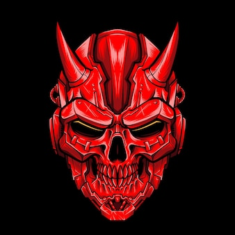 Mecha devil skull vector logo