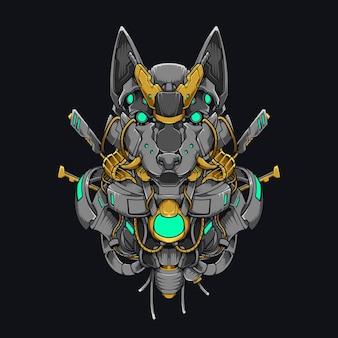 メカ犬柴犬サイバーパンクイラスト。日本の柴犬犬のセキュリティロボットのデザイン黒の現代技術の衣服とフード付きの鉄鋼
