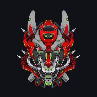 Mecha evil wolf cyberpunk illustration 로봇 테마의 빨간 개 또는 늑대 셔츠 디자인