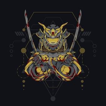 Меха-бог-самурай. иллюстрация робота-самурая со сакральной геометрией