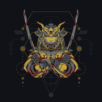 Mecha god samurai . illustration of samurai robot with sacred geometry