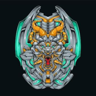 メカライオンドラゴンサイバーパンクイラストロボットをテーマにした古代ドラゴンライオンヘッドシールドシャツのデザイン