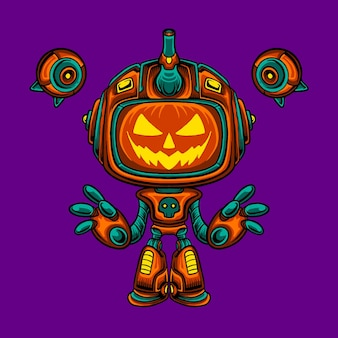 Mecha robot halloween pumpkin character