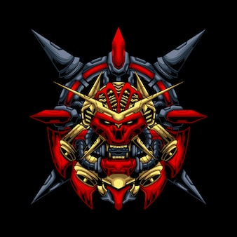Mecha ronin oni mask illustration