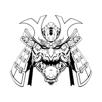 Mecha samurai mask black and white illustration