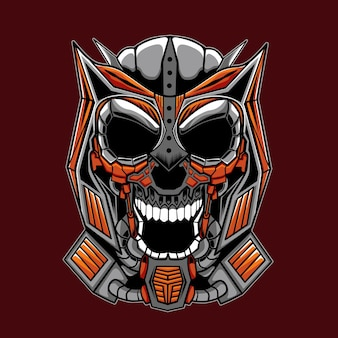 Mecha skull illustration