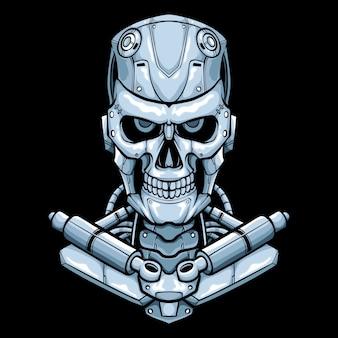 Mecha skull logo illustration