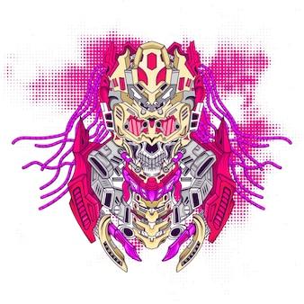Меха-череп в стиле киберпанк