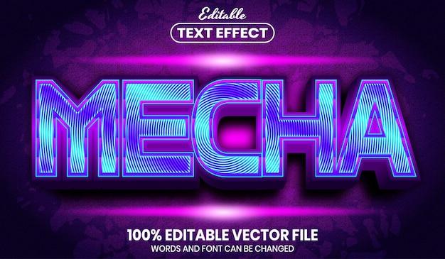 Mecha text, font style editable text effect