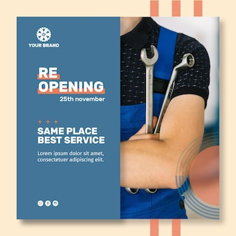Mechanic ad square flyer template
