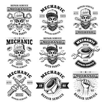 Механик и ремонтный набор векторных эмблем, этикеток, значков или логотипов в монохромном винтажном стиле, изолированные на белом фоне