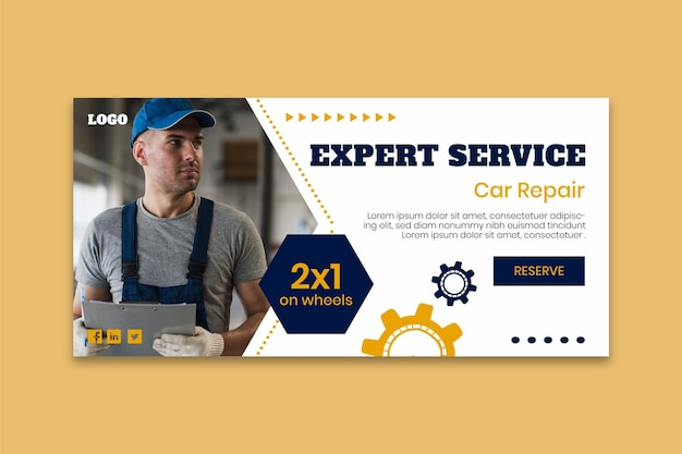 Mechanic banner template with photo