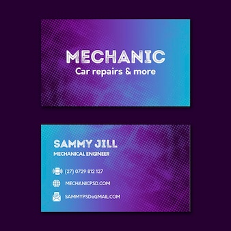 Двусторонняя визитка механика по ремонту автомобилей