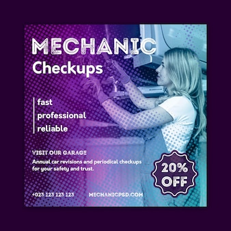 Mechanic car repair flyer square