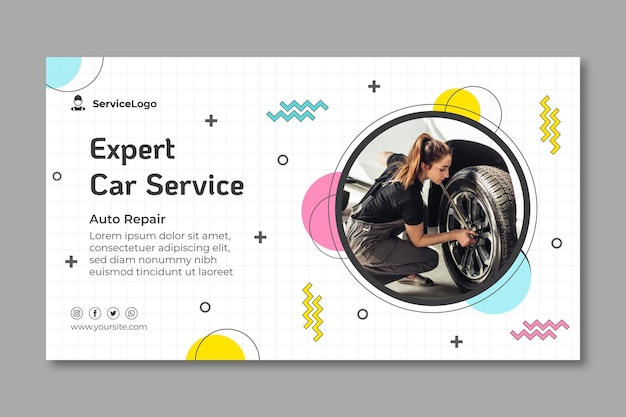 Mechanic car service banner template