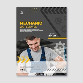 Mechanic car service poster template