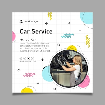 Modello di volantino quadrato di servizio auto meccanico