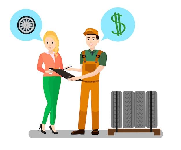 Mechanic, client dialogue flat illustration