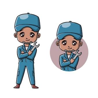 정비공 귀여운 만화 캐릭터