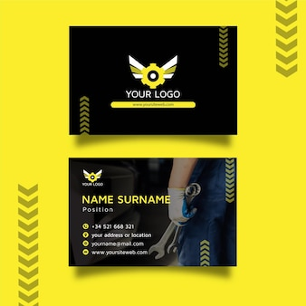 Mechanic double sided horizontal business card template