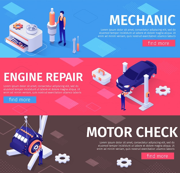 Mechanic, engine repair and check service banners