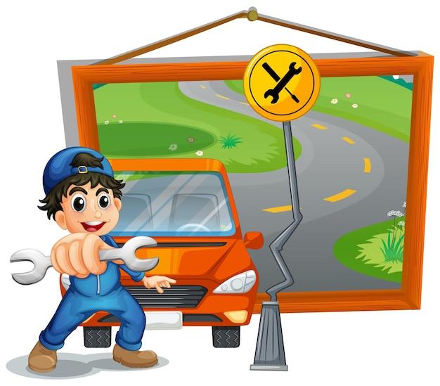 Mechanic fixing car on the road