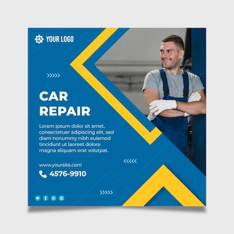 Mechanic flyer square template