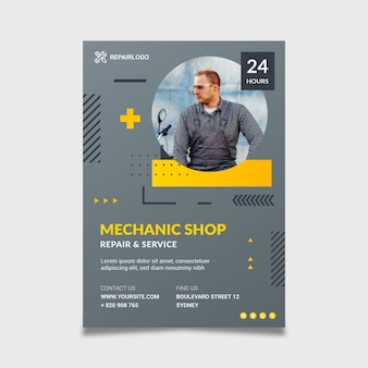 Mechanic flyer template with photo