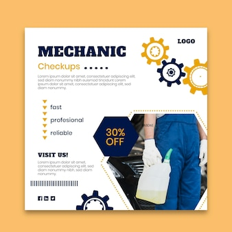 Mechanic flyer template with photo Free Vector